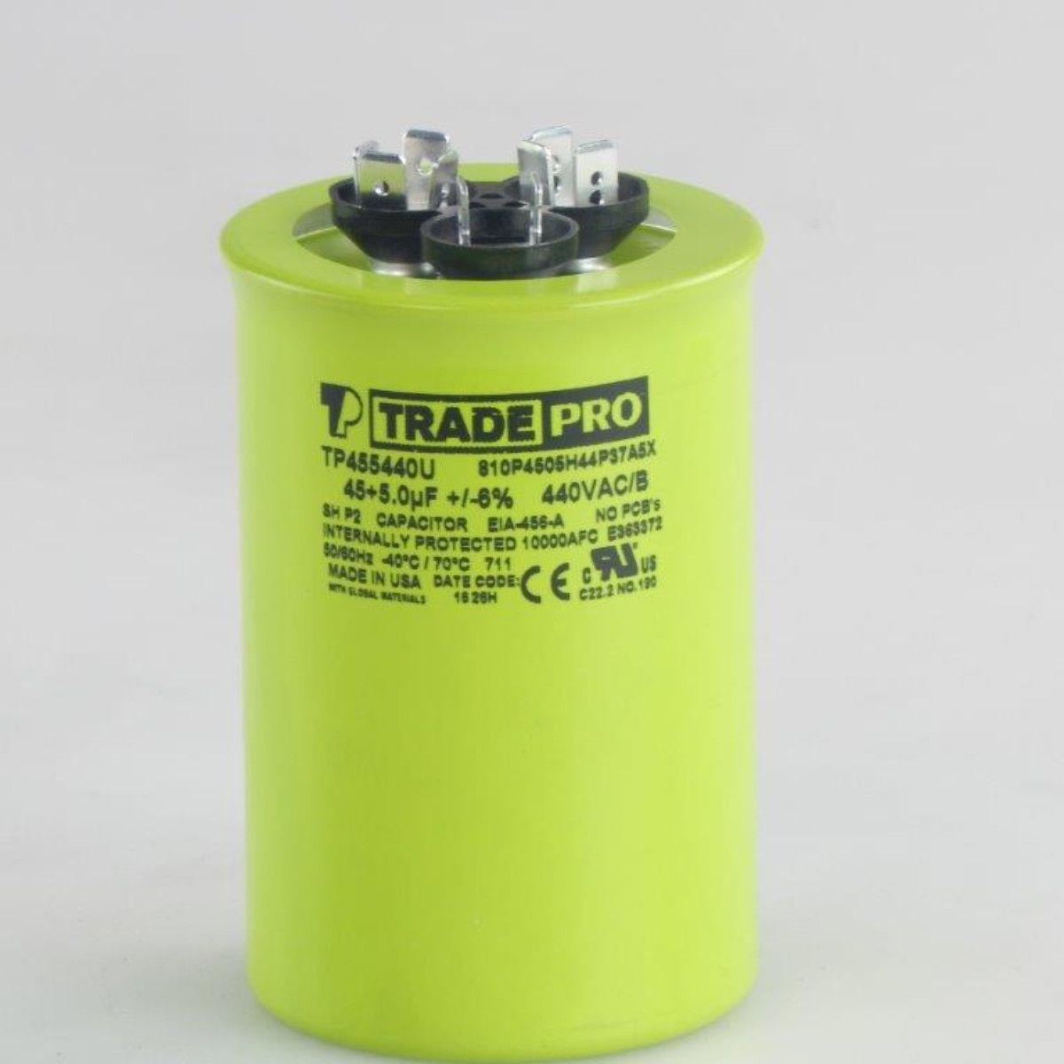 TRADEPRO® Round 'USA' Run Capacitor - 45+5 MFD - 440V